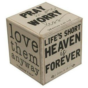 Pray More, Worry Less Six-Sided Block